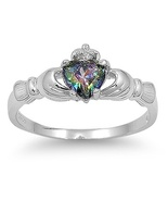 Claddagh Size 6 CZ Rainbow Mystic Topaz Sterling Silver 925 Heart Irish ... - $15.31