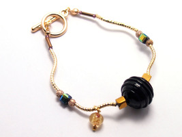 Murano glass gold bracelet Retro black jewelry Free shipping handmade mo... - $24.00