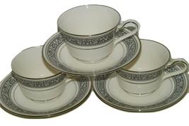 3 Noritake Ivory China PRELUDE Teacup & Saucer Vintage 7570 15100 Set - $19.60