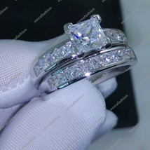 Princess Cut White CZ 14KT White Gold Plated 925 Silver Wedding Ring Set Sz 4-12 - $89.99