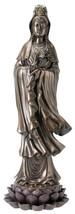 Quan Yin Goddess of Mercy Compassion Standing on Lotus Bronze Cold Cast ... - $87.11