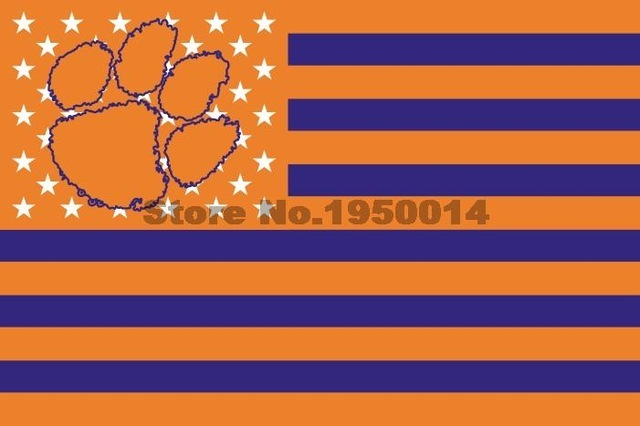 NCAA Clemson Tigers Stars & Stripes 3'x5' Indoor/Outdoor Team Nation Flag Prl/Or