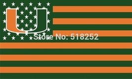 NCAA Miami Hurricanes Stars & Stripes 3'x5' Indoor/Outdoor Team Nation F... - $9.99