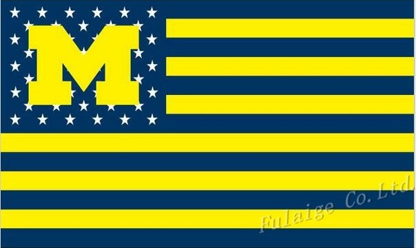 NCAA Michigan Wolverines Stars & Stripes 3'x5' Indoor/Outdoor Team Nation Flag