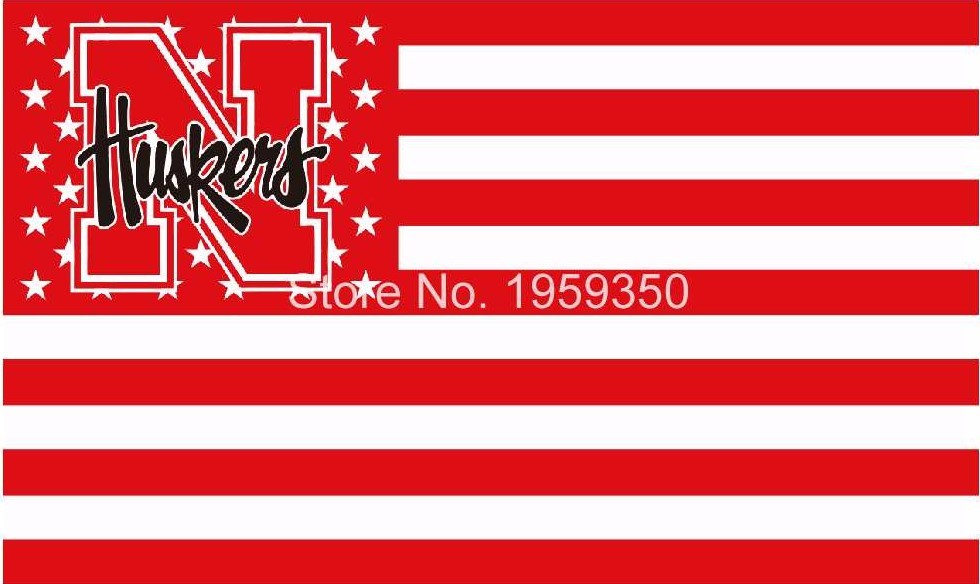 Braska cornhuskers with stars and stripes flag 3ftx5ft banner 100d polyester flag metal grommets