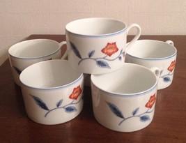 "Vintage 1979 FITZ & FLOYD 6 FLOWER  COFFEE TEA CUPS - JARDIN DE CHINE"" - $39.55"