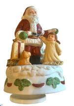 Homco Rotating Musical Santa Girl Dog Figurine Santa Claus is Coming to Town - $21.66
