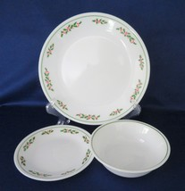 "Corelle ""Holly Days"" Dinner & Dessert Plates, Cereal Bowls c. 1980's - $16.00"