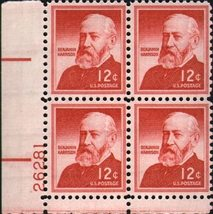 1959 Benjamin Harrison Plate Block of 4 US Postage Stamps Catalog 1045 MNH