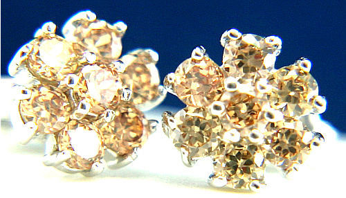 New 925 Sterling Silver Fashion Womens Champagne 0.06 CT CZ Stud Earrings