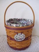 Vintage Sweet Pea Longaberger Basket Combo 1996 w Liner Protector Produc... - $32.71