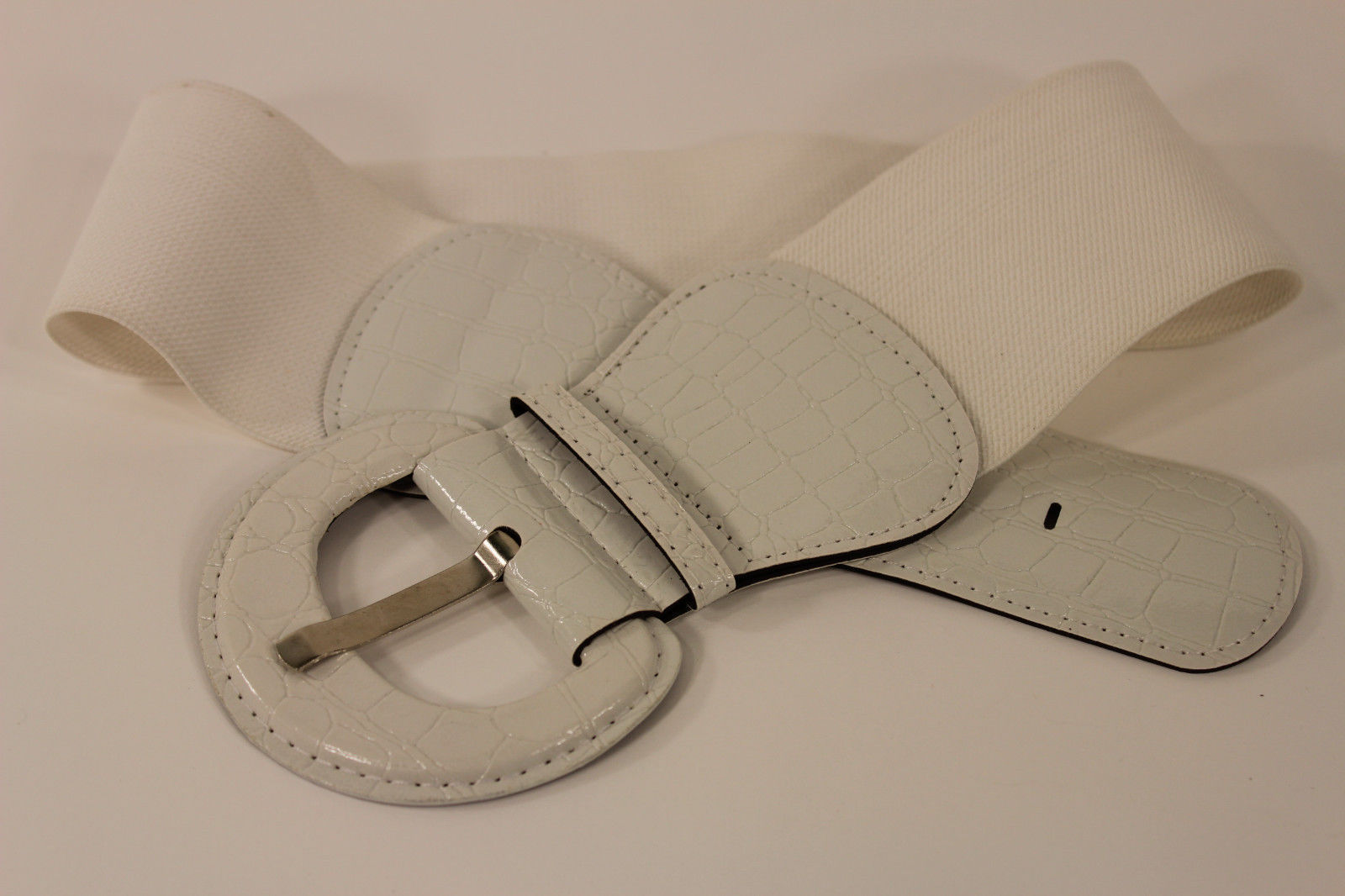 Women White Fashion Belt Elastic Low Hip / High Waist Stretch Wide Faux Leather