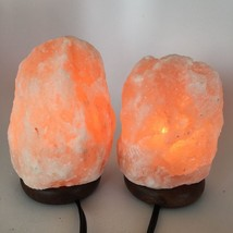 "2x Himalaya Natural Handcraft Rough Raw Crystal Salt Lamp,6.75""-7.5""Tall... - $25.60"