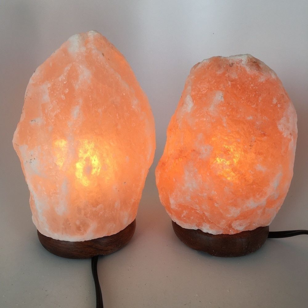 "2x Himalaya Natural Handcraft Rough Raw Crystal Salt Lamp, 7.5""-8.25"" Tall, HL13"