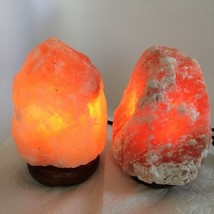 "2x Himalaya Natural Handcraft Rough Raw Crystal Salt Lamp, 6.75""-7.25"" T... - $24.00"