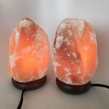 "2x Himalaya Natural Handcraft Rough Raw Crystal Salt Lamp, 7.25""-7.5""Tal... - $25.60"