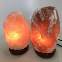 "2x Himalaya Natural Handcraft Rough Raw Crystal Salt Lamp, 7.5""-8.25"" Ta... - $24.00"