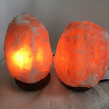 "2x Himalaya Natural Handcraft Rough Raw Crystal Salt Lamp,6.75""-7.25""Tal... - $24.00"