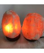 """2x Himalaya Natural Handcraft Rough Raw Crystal Salt Lamp,6.75""""-7.25""""Tal... - $24.00"""