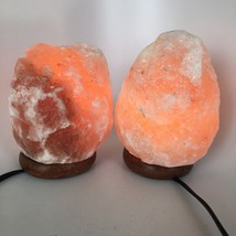 "2x Himalaya Natural Handcraft Rough Raw Crystal Salt Lamp,6.5""-7.5""Tall,... - $25.60"