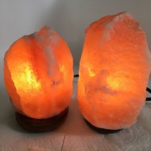 "2x Himalaya Natural Handcraft Rough Raw Crystal Salt Lamp,6.75""-7.75""Tal... - $24.00"