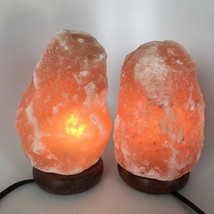 "2x Himalaya Natural Handcraft Rough Raw Crystal Salt Lamp,7.5""-7.75""Tall... - $25.60"