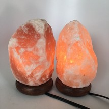 "2x Himalaya Natural Handcraft Rough Raw Crystal Salt Lamp,7.25""-7.5""Tall... - $25.60"