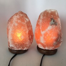 "2x Himalaya Natural Handcraft Rough Raw Crystal Salt Lamp,7.75""-8.25""Tal... - $25.60"