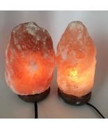 """2x Himalaya Natural Handcraft Rough Raw Crystal Salt Lamp, 8.25""""-8.5"""" Ta... - $25.60"""