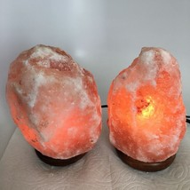 "2x Himalaya Natural Handcraft Rough Raw Crystal Salt Lamp, 7.5""-7.75"" Ta... - $24.00"