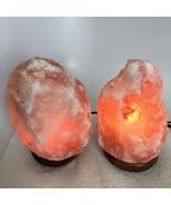 """2x Himalaya Natural Handcraft Rough Raw Crystal Salt Lamp, 7.5""""-7.75"""" Ta... - $24.00"""