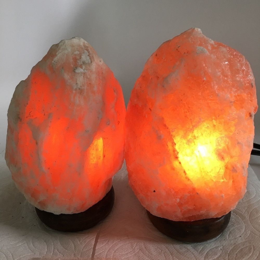 "2x Himalaya Natural Handcraft Rough Raw Crystal Salt Lamp,7""-7.25""Tall,XL208"
