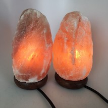 "2x Himalaya Natural Handcraft Rough Raw Crystal Salt Lamp,8.25""-8.5""Tall... - $25.60"