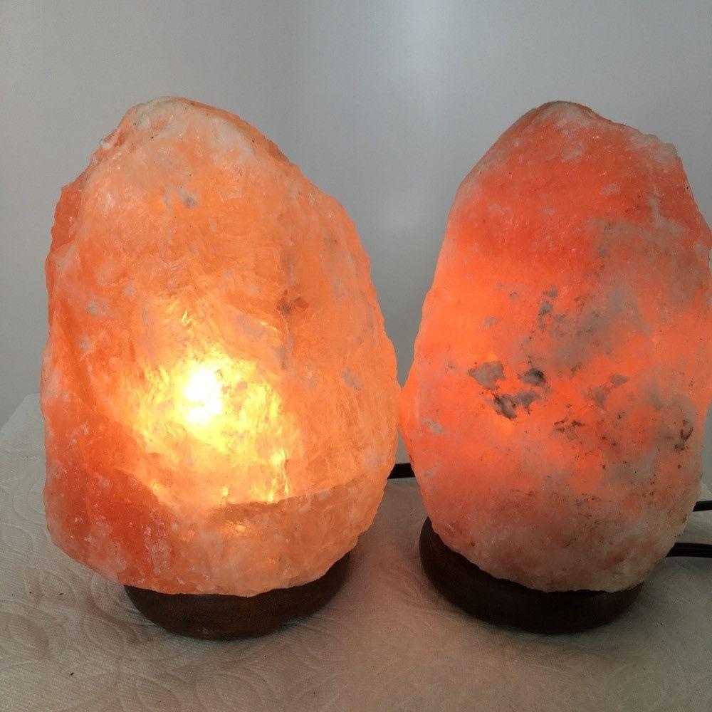 """2x Himalaya Natural Handcraft Rough Raw Crystal Salt Lamp, 7""""-7.25"""" Tall,XL101"""