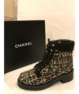 CHANEL 16A Tweed CC Logo Lace Up Ankle Combat H... - $787.74
