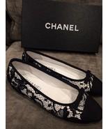 New $795 CHANEL Lace Fabric Cap Toe Ballerina F... - $467.49