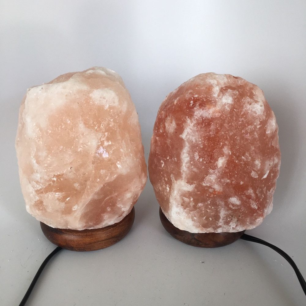 "2x Himalaya Natural Handcraft Rough Raw Crystal Salt Lamp,6.75""-7""Tall, HL71"
