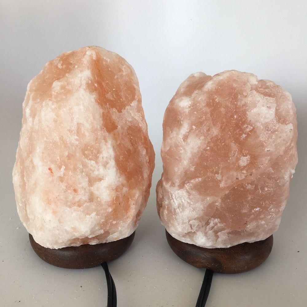 """2x Himalaya Natural Handcraft Rough Raw Crystal Salt Lamp,6.75""""-7.5""""Tall, HL25"""