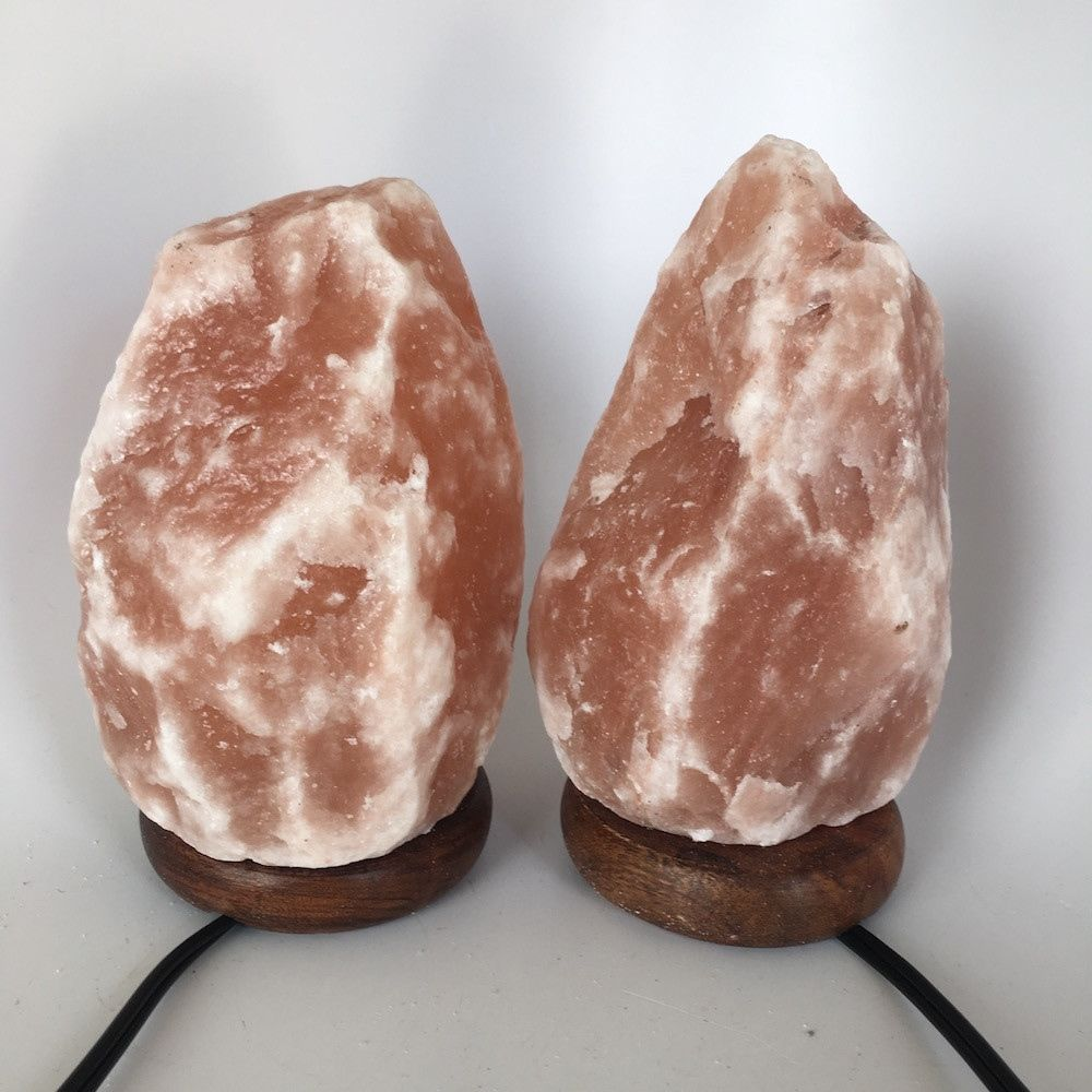 "2x Himalaya Natural Handcraft Rough Raw Crystal Salt Lamp,7.75""-8.25""Tall, HL73"