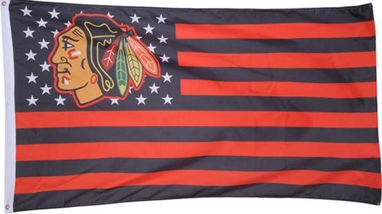 NHL Chicago Blackhawks Stars & Stripes 3'x5' Indoor/Outdoor Team Nation Flag