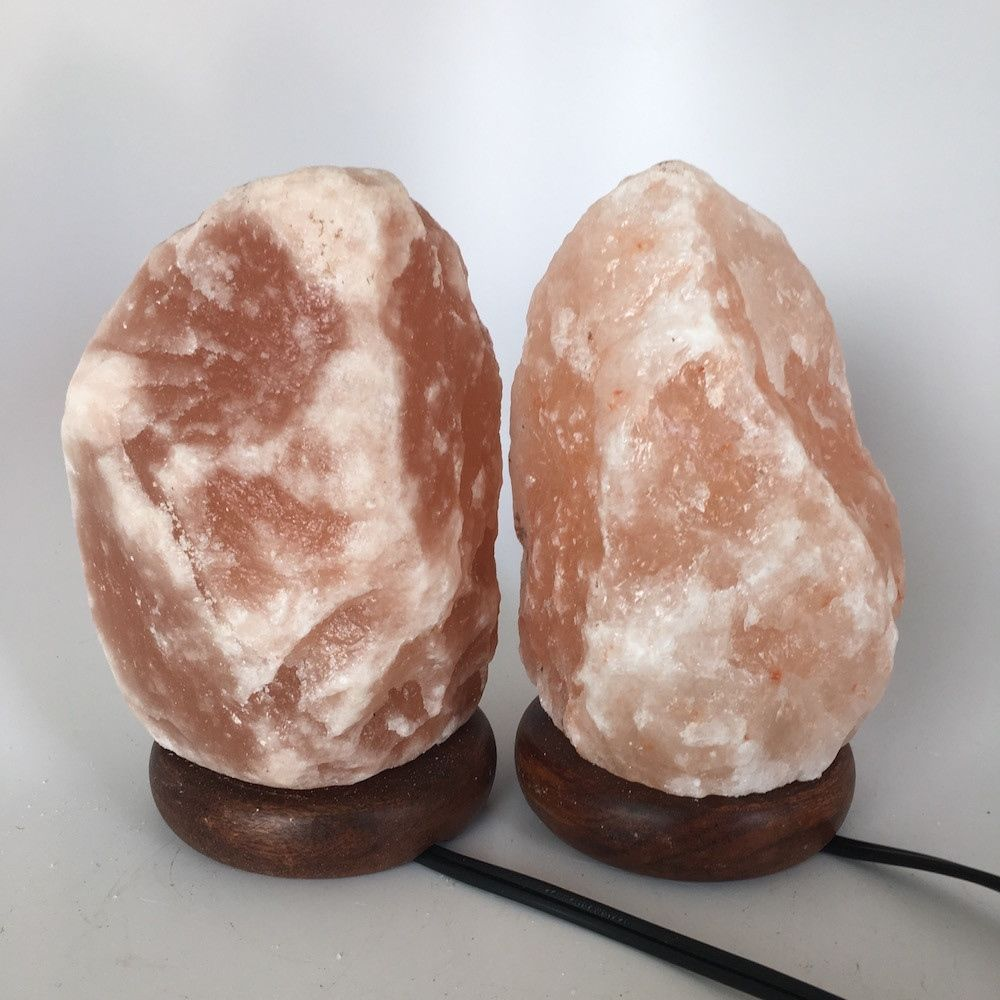 "2x Himalaya Natural Handcraft Rough Raw Crystal Salt Lamp,7.25""-7.5""Tall, HL76"