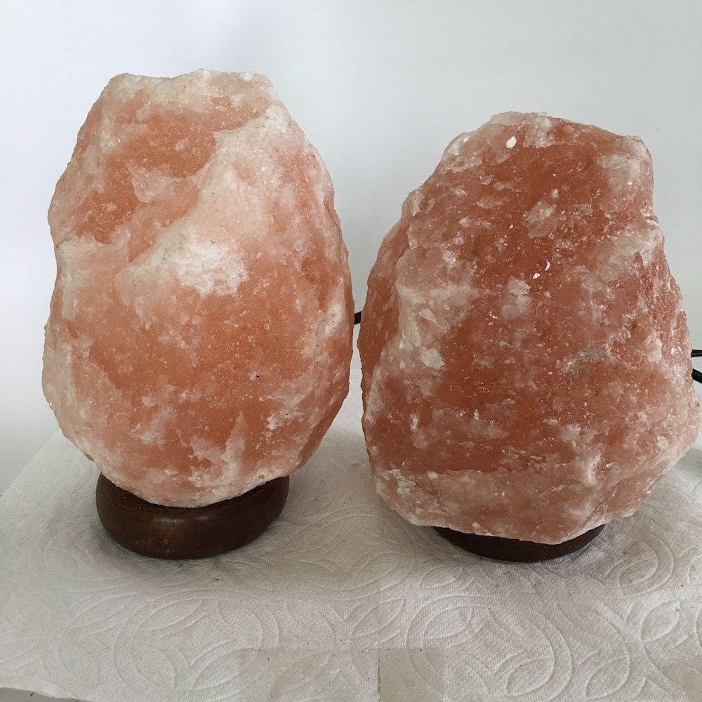 """2x Himalaya Natural Handcraft Rough Raw Crystal Salt Lamp,7.25""""-7.75""""Tall,XL196"""