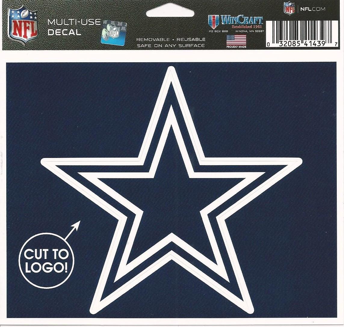 "NFL Dallas Cowboys Star Logo Wincraft Multi-Use Ultra Decal Cling ""5x6"""