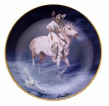 Spirit Of The Winter Hawk Hermon Adams Native American Plate CP2572 - $35.98