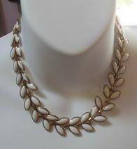 Vintage Trifari White Enamel Leaf Choker Necklace - $55.00