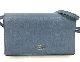 Coach Crossbody Bag Blue Pebbled Leather Fold over Clutch F54002 B25 - $79.19