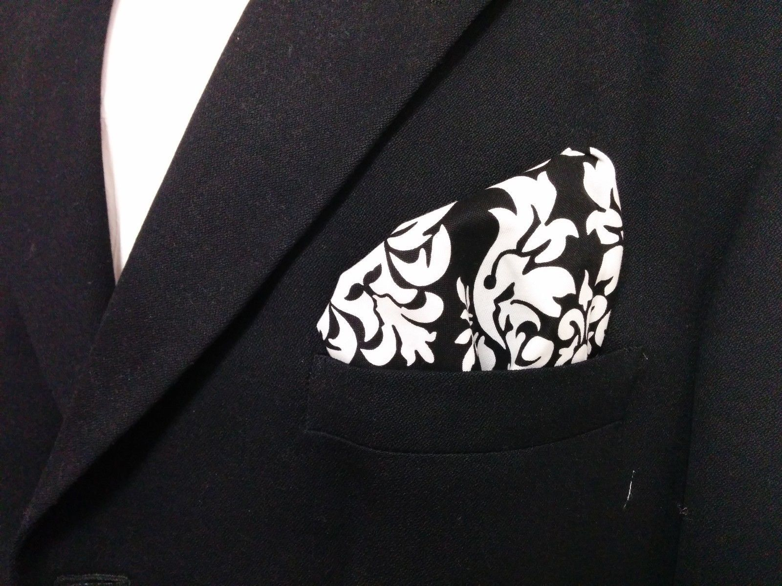 Damask Hanky Pocket Square Tuxedo Dandy Black White Wedding Bridal Groomsmen