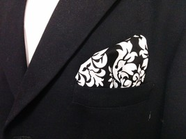 Damask Hanky Pocket Square Tuxedo Dandy Black White Wedding Bridal Groomsmen - $10.99