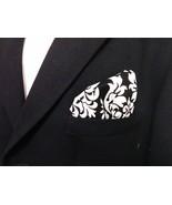 Damask Hanky Pocket Square Tuxedo Dandy Black White Wedding Bridal Groom... - $10.99