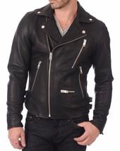 Men's Genuine Lambskin Leather Motorcycle Jacket Moto Slim fit Biker Jacket - FG - $69.29+